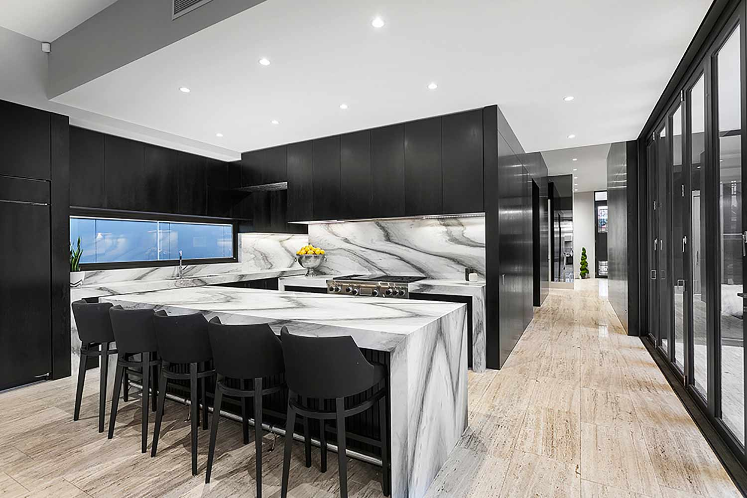 kitchen with black cabinetry